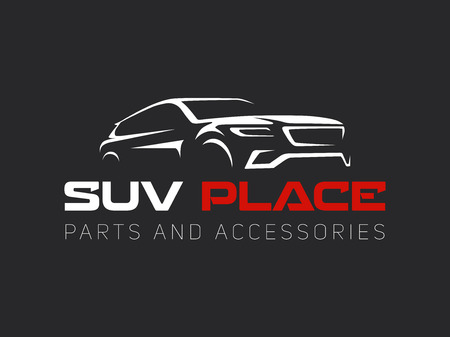 Suv auto logo op een donkere achtergrond. Modern suv auto.