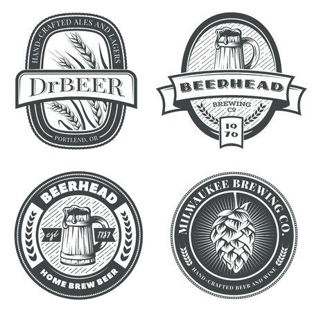 Set of vintage beer emblems, labels and badges. Vector illustration. Brewery logo design elements. Illusztráció