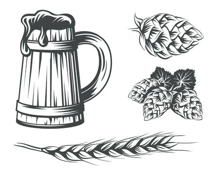 Set of beer components design elements. Beer mug with foam, hops and wheat vector illustration.