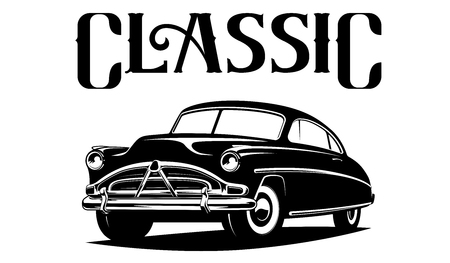 Classic car illustration isolated on white background. Vettoriali