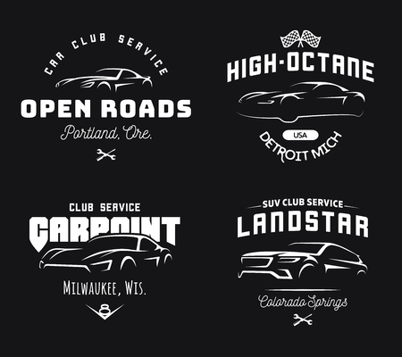 Set of modern sports car and SUV logo, emblems and badges on black background. Vettoriali