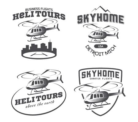 Helicopter logo, badges and emblems.