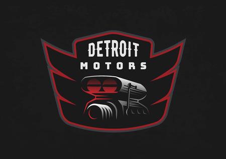 Retro car emblem on dark grunge background. Car air intake and throttle body illustration. T-shirt print design. Illustration