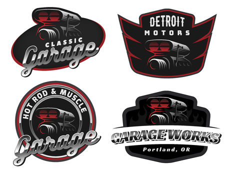 Set of retro car logo, emblems or badges isolated on white background. Car air intake and throttle body illustration.