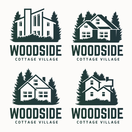 Vector logo design of a trees silhouette and small house. Logo for house repair and building. Illustration