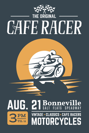Classic cafe racer motorcycle with grunge texture for t shirt printing design.
