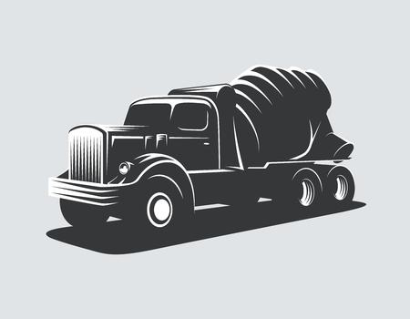 Classic concrete mixer truck vector illustration. Vettoriali