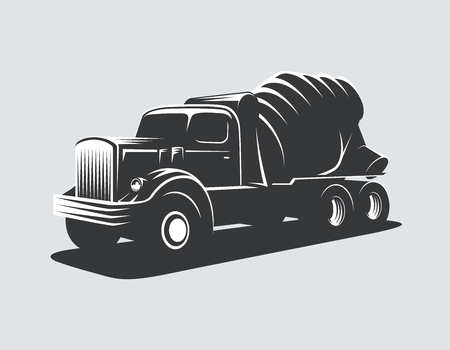 Classic concrete mixer truck vector illustration. Vectores