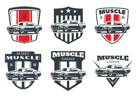 Set of classic muscle car logo, emblems and badges isolated on white background.