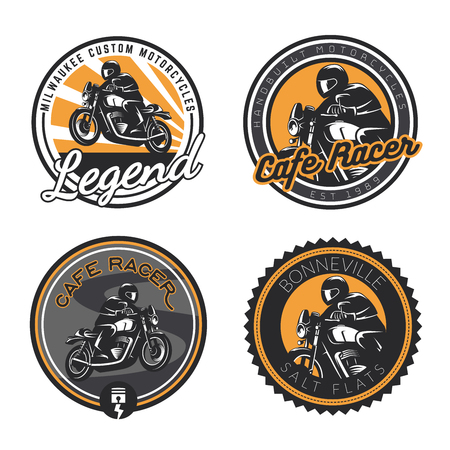 Set of classic motorcycle emblems isolated on white background.