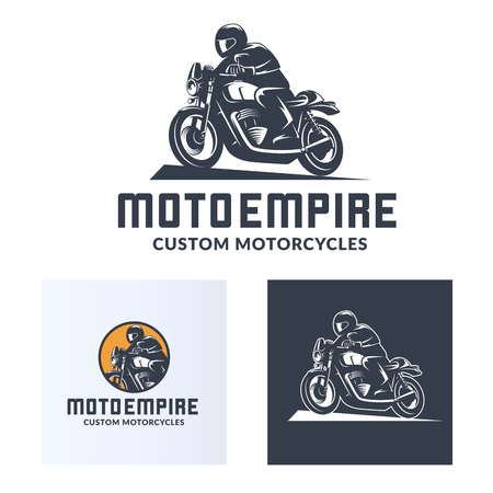 Vintage cafe racer motorcycle logo isolated on white background. Old school sport motorcycle desgn elements.