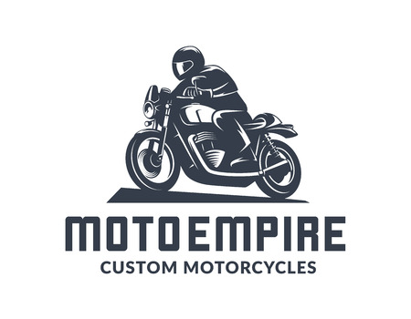 Logo del motociclo del corridore del caffè dell'annata isolato su priorità bassa bianca. Elementi di design di moto sportiva vecchia scuola. Logo