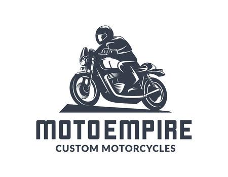 Weinlesecaférennläufermotorradlogo lokalisiert auf weißem Hintergrund. Alte Schulsport-Motorradgestaltungselemente. Logo