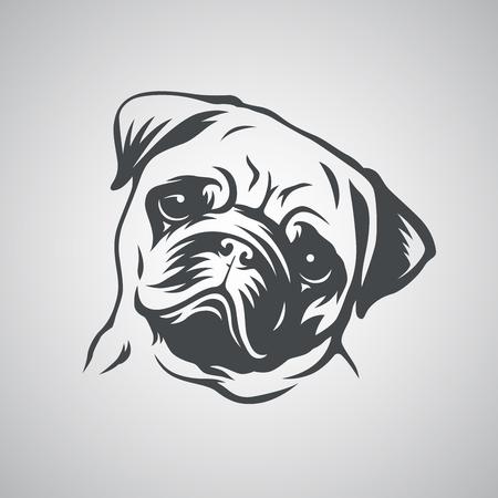 Leuke pug dog head. Vector illustratie
