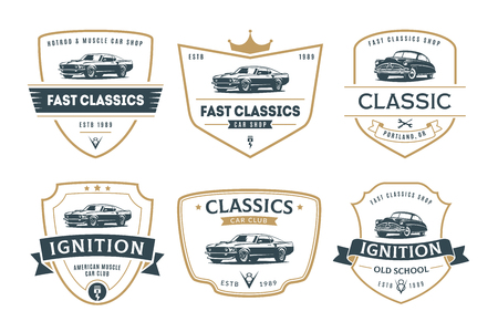 Set of muscle car emblems and badges. Classic car t-shirt design  template. Иллюстрация