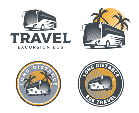 Set of tourist bus  , emblems and badges isolated on white background.