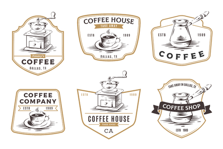 Set of coffee shop emblems, badges and  isolated on white background. Manual coffee grinder and cup of coffee vector illustration. Çizim