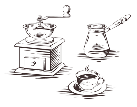 Coffee set with manual coffee grinder, coffee maker press and cup of coffee. Vector illustration. Çizim