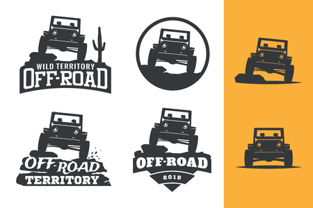 Set of off-road suv car monochrome  , emblems and badges isolated on white background. Rock crawler car in mountains. Off-roading 4x4 trip emblems. Çizim