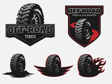 Set of off-road tyre service logo emblems and badges.
