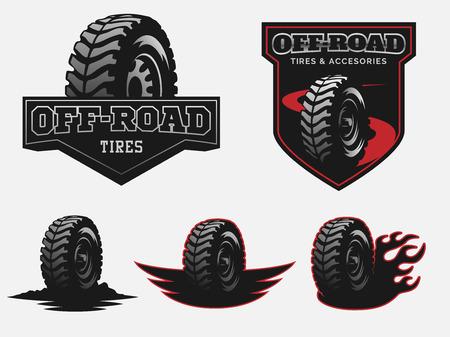 Set of off-road tyre service logo emblems and badges.