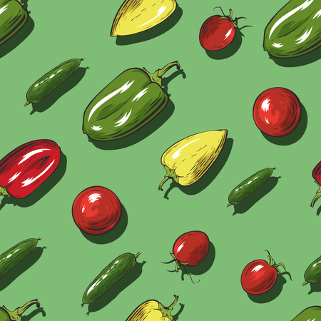 Seamless pattern with vegetables on green background. Vector illustration. 일러스트