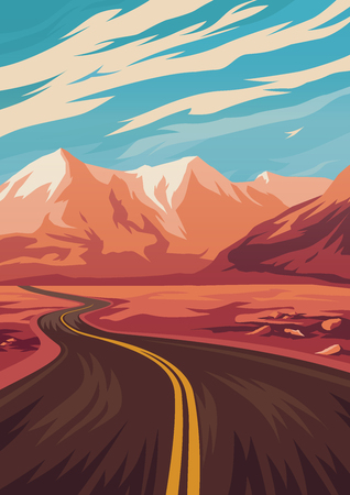 Travel illustration with road in mountains. Vector illustration. 일러스트