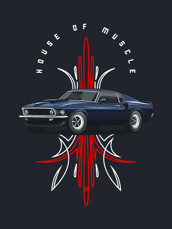 Classic muscle car poster with tribal ornament on dark background. 일러스트