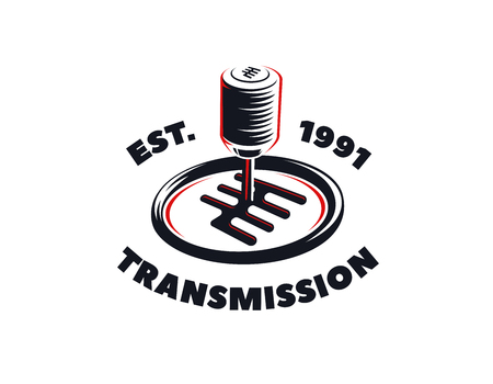 Car transmission service logo on white background. Automatic and manual transmission fluid change emblem.
