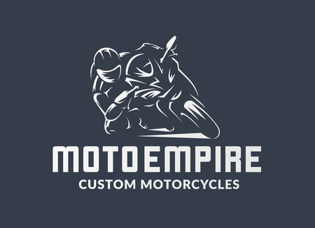 Racing motorcycle logo on black background. Superbike vector monochrome emblem. Vectores