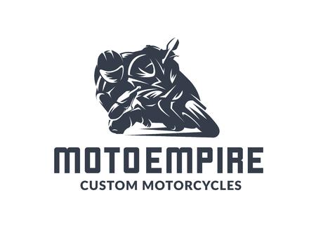Logotipo de la motocicleta de carreras sobre fondo blanco. Emblema monocromo de vector de Superbike.