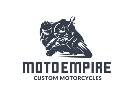 Racing motorcycle logo on white background. Superbike vector monochrome emblem.