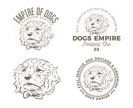 Set of dog grooming logo and emlems isolated on white background. Vector illustration.
