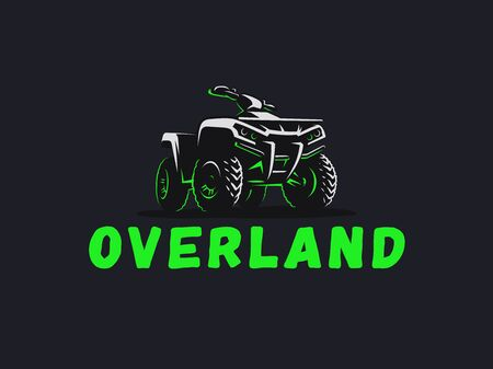 ATV vehicle logo. All-terrain 4x4 quad illustration.