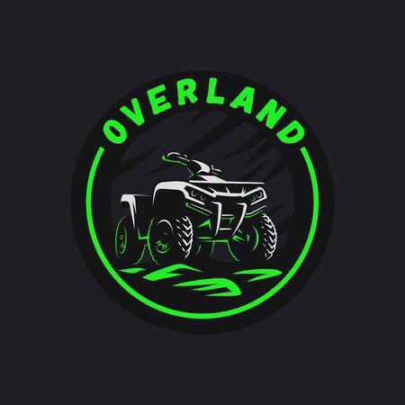 ATV vehicle circle emblem. All-terrain 4x4 quad illustration. Stock Illustratie