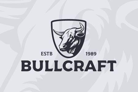 Vector bull head logo or emblem.