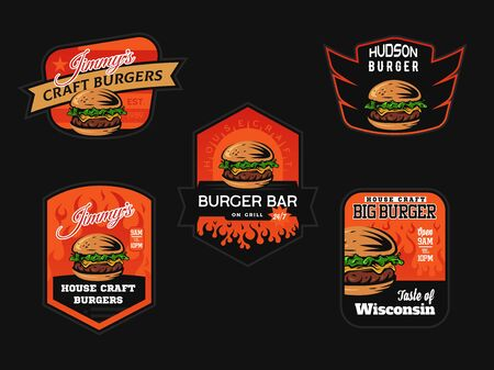 Set of burger shop logo, emblems and badges. Fast food design.