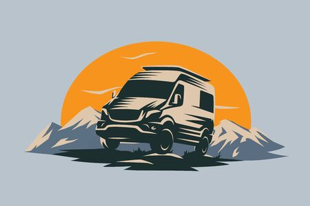 Camper van illustration with rocks and mountains. RV vehicle standing on rocks on the sunset. Vector illustration.  イラスト・ベクター素材