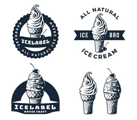 Set of ice cream logo, emblems and badges.