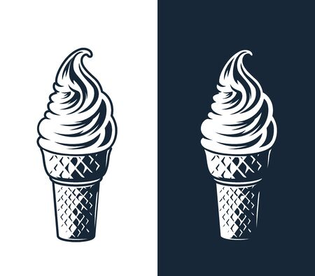 Ice cream illustration on white and dark background.
