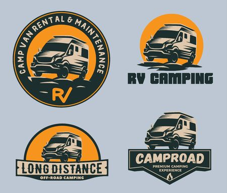 Set of camper van logo, emblems and badges. Recreational vehicle illustration.