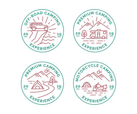 Set of camping vector line logo, badges. Emblems of a camper van, suv and motorcycle tourism. 免版税图像 - 134866571