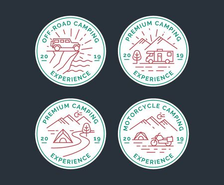 Set of camping vector line logo, badges. Emblems of a camper van, suv and motorcycle tourism.