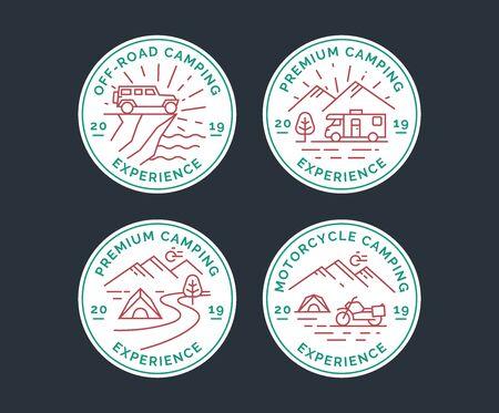 Set of camping vector line logo, badges. Emblems of a camper van, suv and motorcycle tourism.