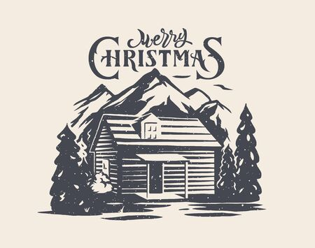 Merry Christmas greeting card design with old house in forest and mountains.  イラスト・ベクター素材