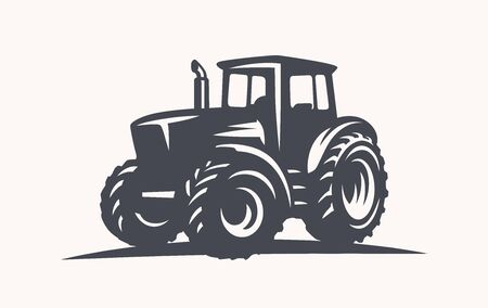 Modern tractor illustration on white