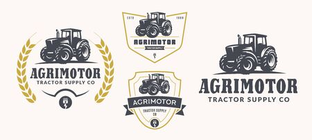 Set of farm logo on white