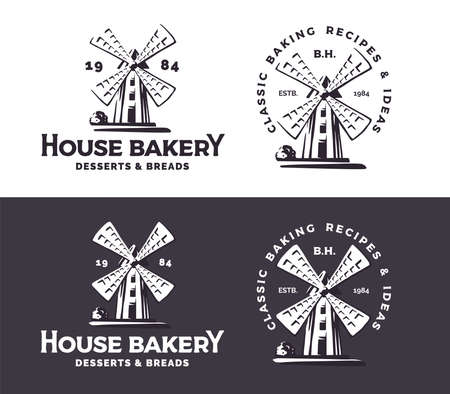 Retro styled windmill badges. Logo for bakery business. Black and white version.