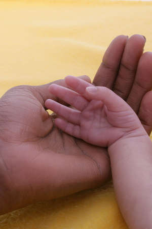 A small babys white hand cradled in a black mothers hand photo