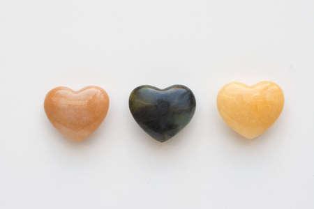 Three Agate heartsshot on a white background shot on a white background Stock Photo - 292976